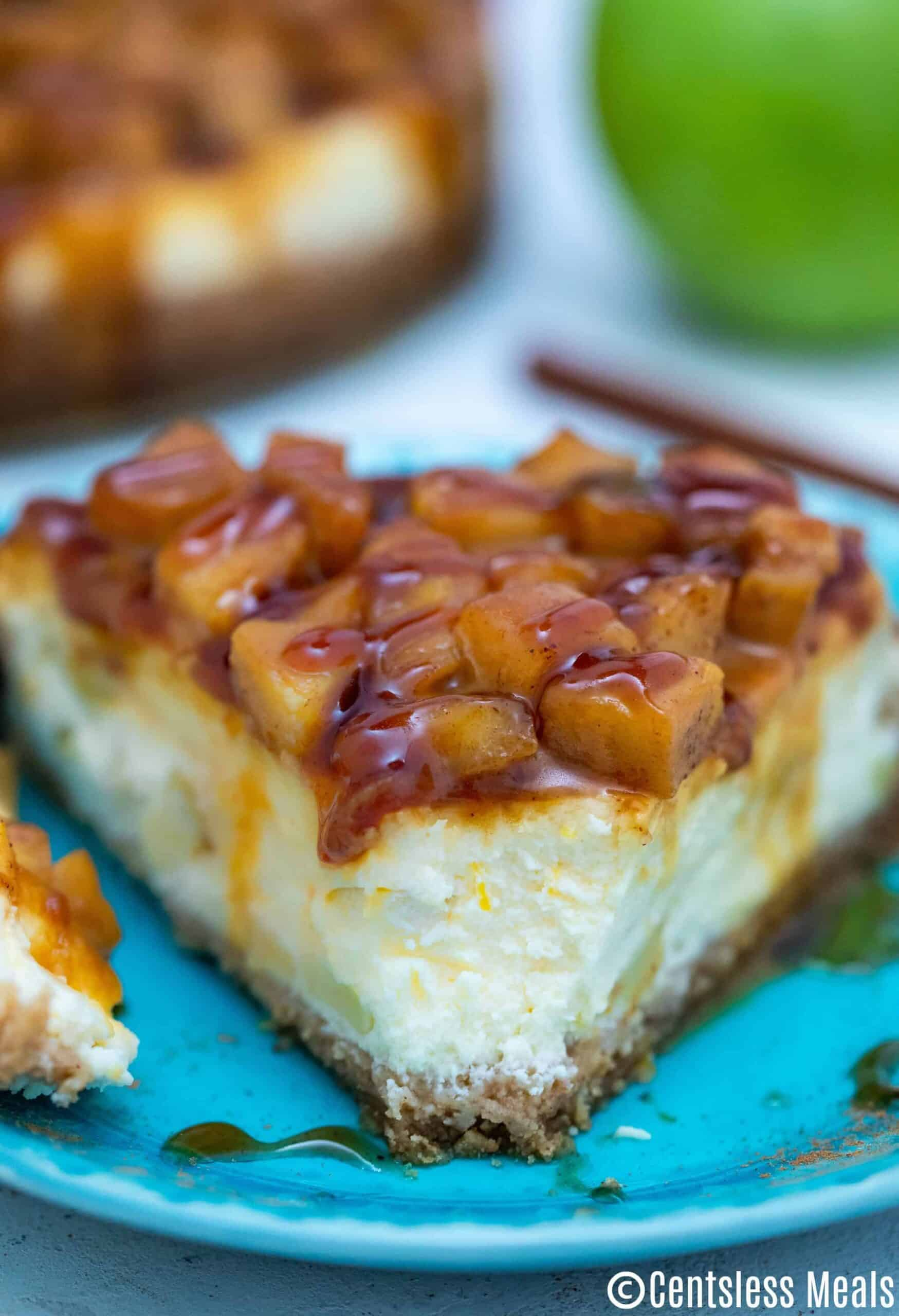 Caramel Apple Cheesecake on a blue plate