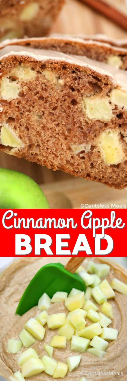 Batter for cinnamon apple bread in a bowl with a spatula and slices of cinnamon apple bread with a title