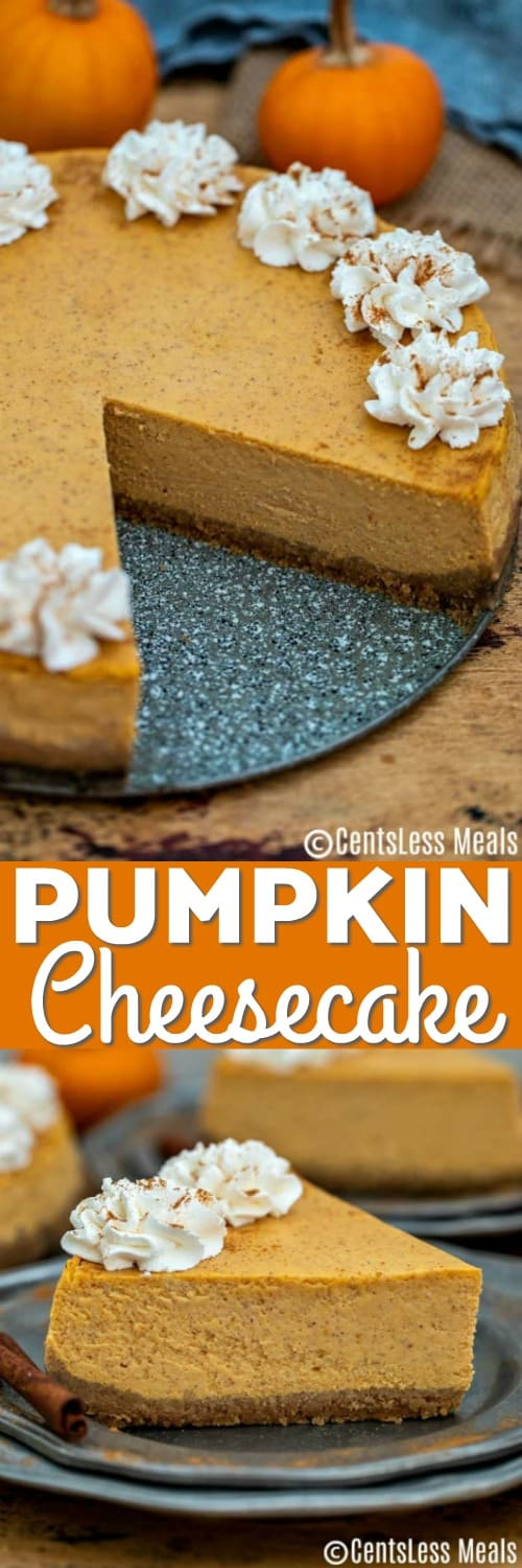 Pumpkin cheesecake on a plate with a title
