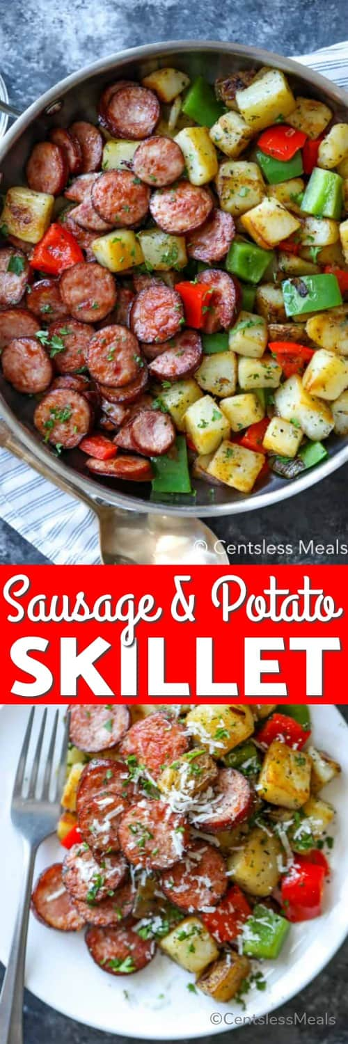 Top photo - Potatoes, sausages, peppers and onions cooked in a skillet. Bottom photo - Potato and sausage skilled served on a white plate garnished with fresh parmesan cheese.