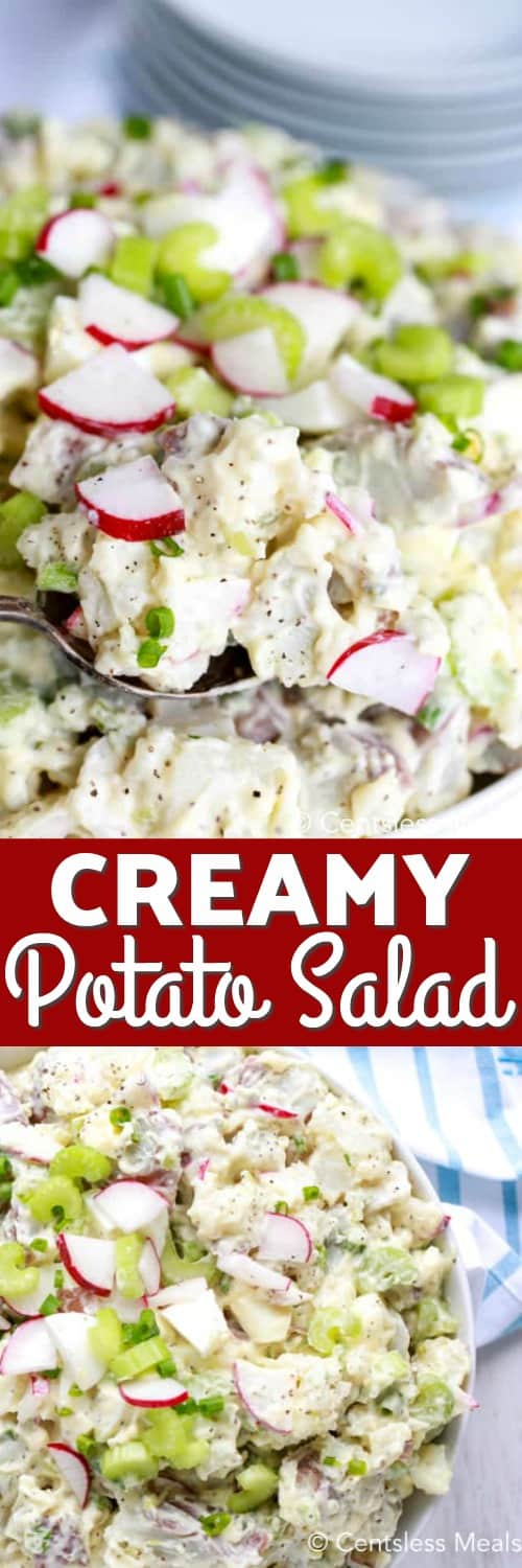 Creamy potato salad in a bowl with a spoonful being taken out with a title