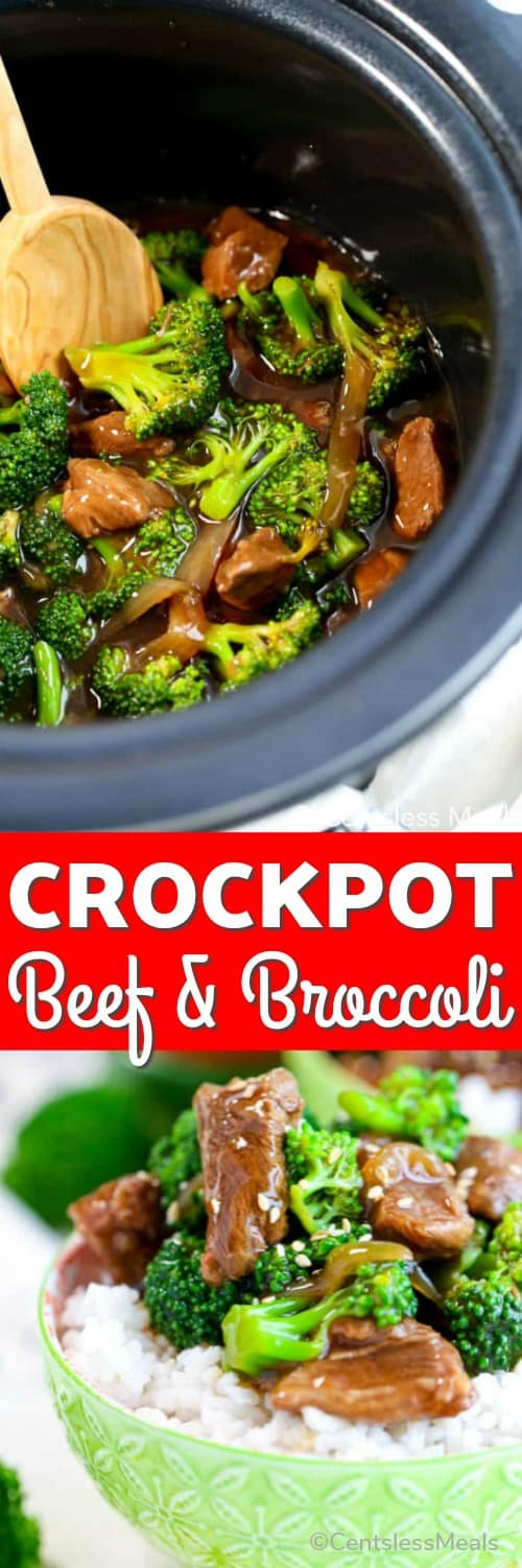Top photo - Beef and Broccoli cooked in a crockpot. Bottom photo - CrockPot Beef and Broccoli served over rice in a small green bowl.