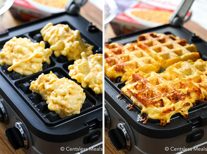 The left photo shows the mac and cheese prior to being cooked on the griddle. The right photo shows the waffles once they are cooked