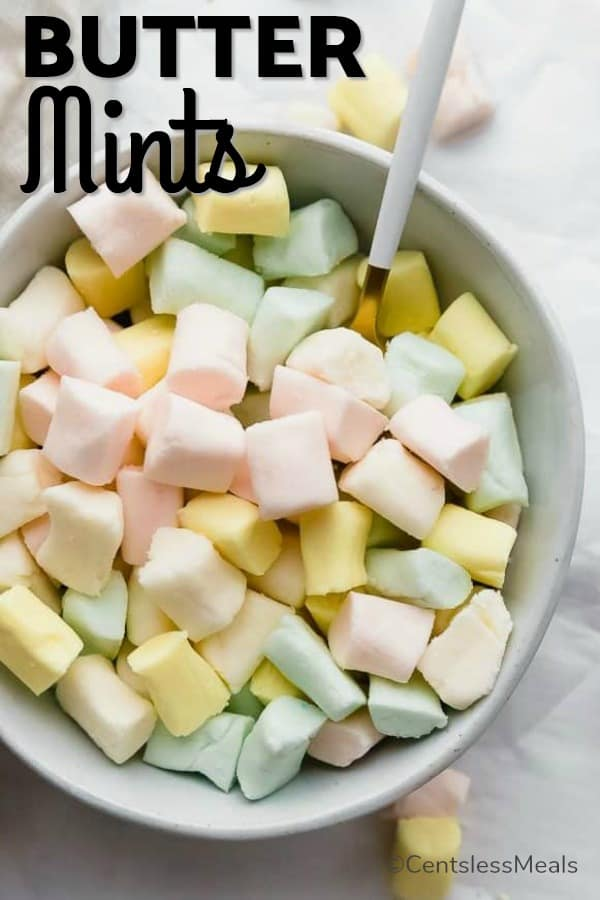 Butter mints with a spoon in a bowl with writing