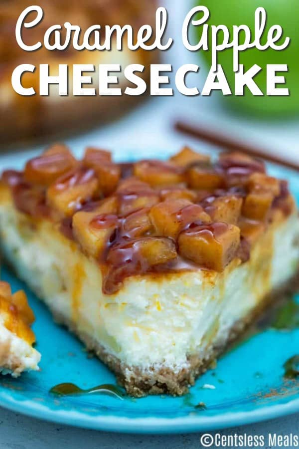 Caramel apple cheesecake on a blue plate with writing