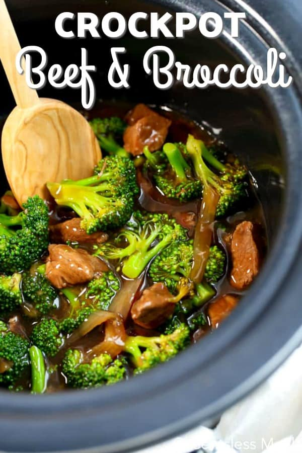 Beef and Broccoli cooked in a crockpot.