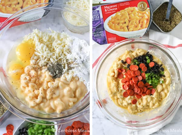 Ingredients for pizza mac and cheese bites in a clear Bowl