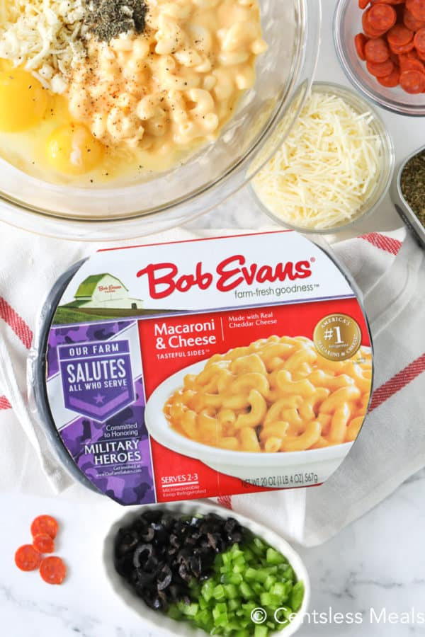 Bob Evans mac and cheese with other ingredients for pizza mac and cheese bites