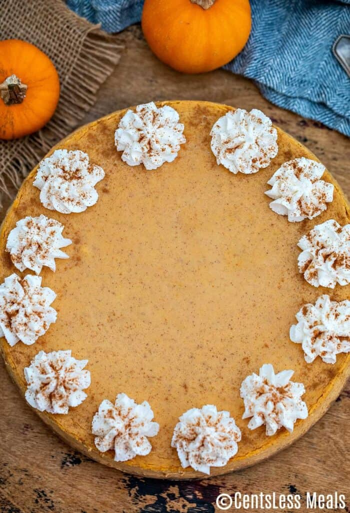 An overhead photo of an entire pumpkin cheesecake, garnished with whipped cream and cinnamon.