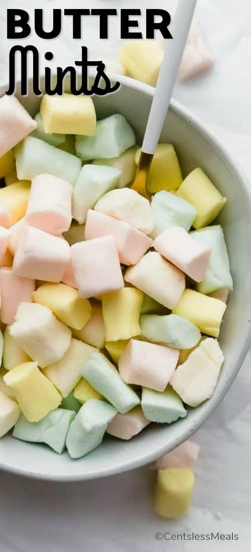 Butter Mints in a white bowl with a small spoon
