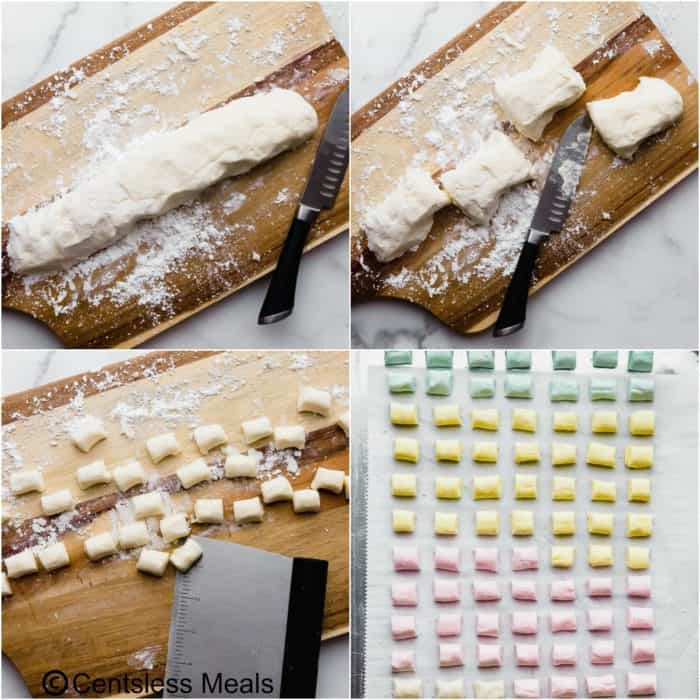 Four photos showing the process to make Butter Mints.Top left photo - butter mint dough on a cutting board sprinkled with powdered sugar. Top right photo - dough cut into 4 separate pieces. Bottom left photo - dough cut into small mint shapes. Bottom right - dough placed on a baking sheet lined with parchment paper.