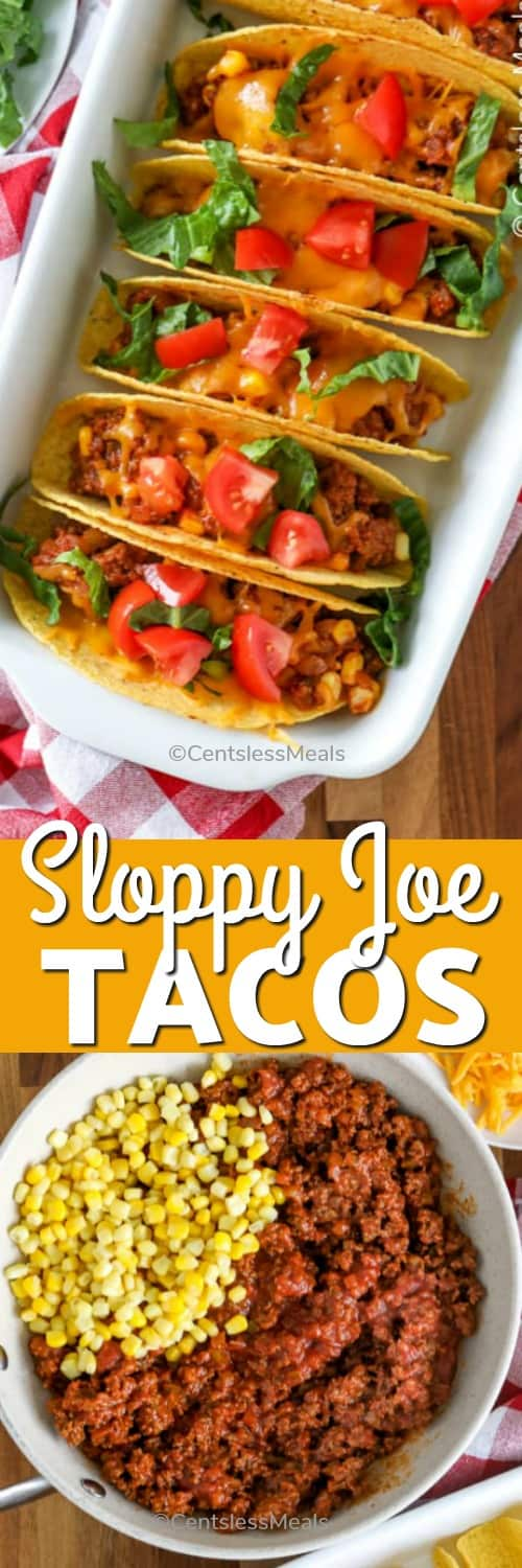 Top photo - Sloppy joe tacos lined up and garnished with tomatoes and lettuce. Bottom photo - Ingredients for sloppy joe tacos in a white frying pan, with hard taco shells and grated cheddar on the side.