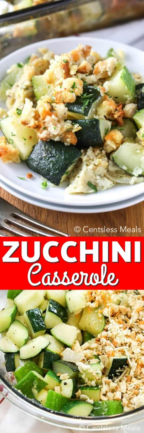 Top photo - Zucchini Casserole served on a white plate. Bottom photo - Fresh ingredients for zucchini casserole, assembled in a clear mixing bowl.
