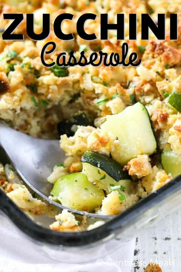 Zucchini Casserole baked in a clear casserole dish.