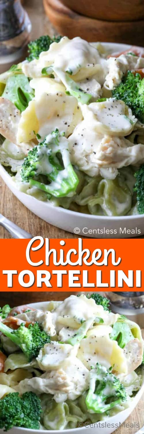 Chicken tortellini in a white bowl with writing