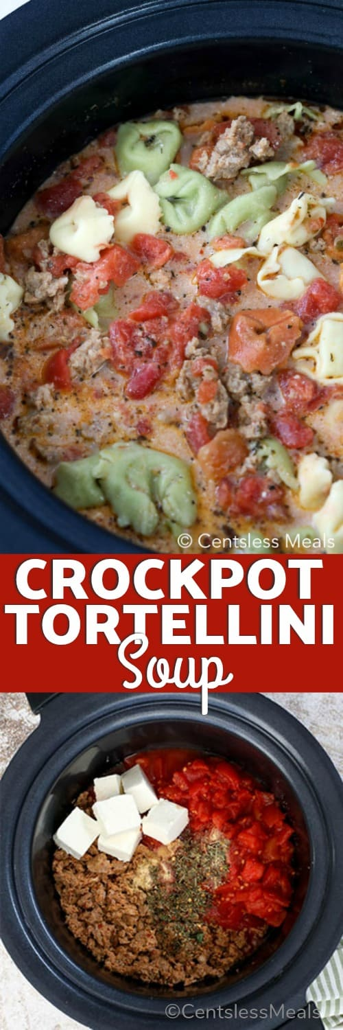 Ingredients for Crock-Pot tortellini soup in a crock pot cooked and uncooked with a title