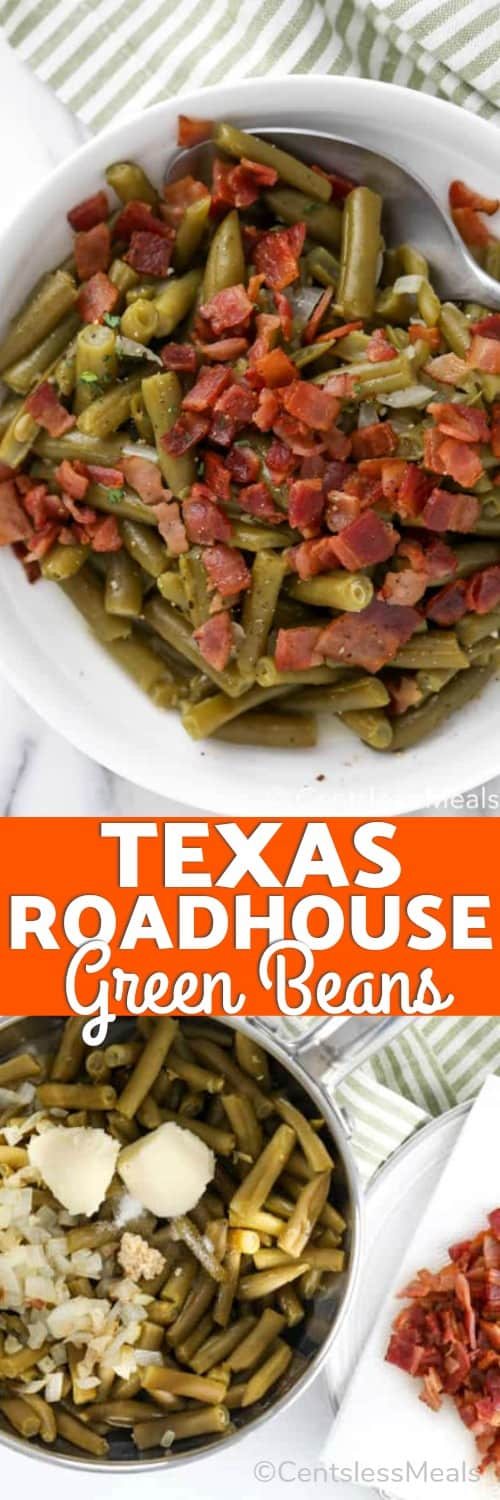Ingredients for Texas Roadhouse green beans in a pot and Texas Roadhouse green beans in a bowl with a spoon