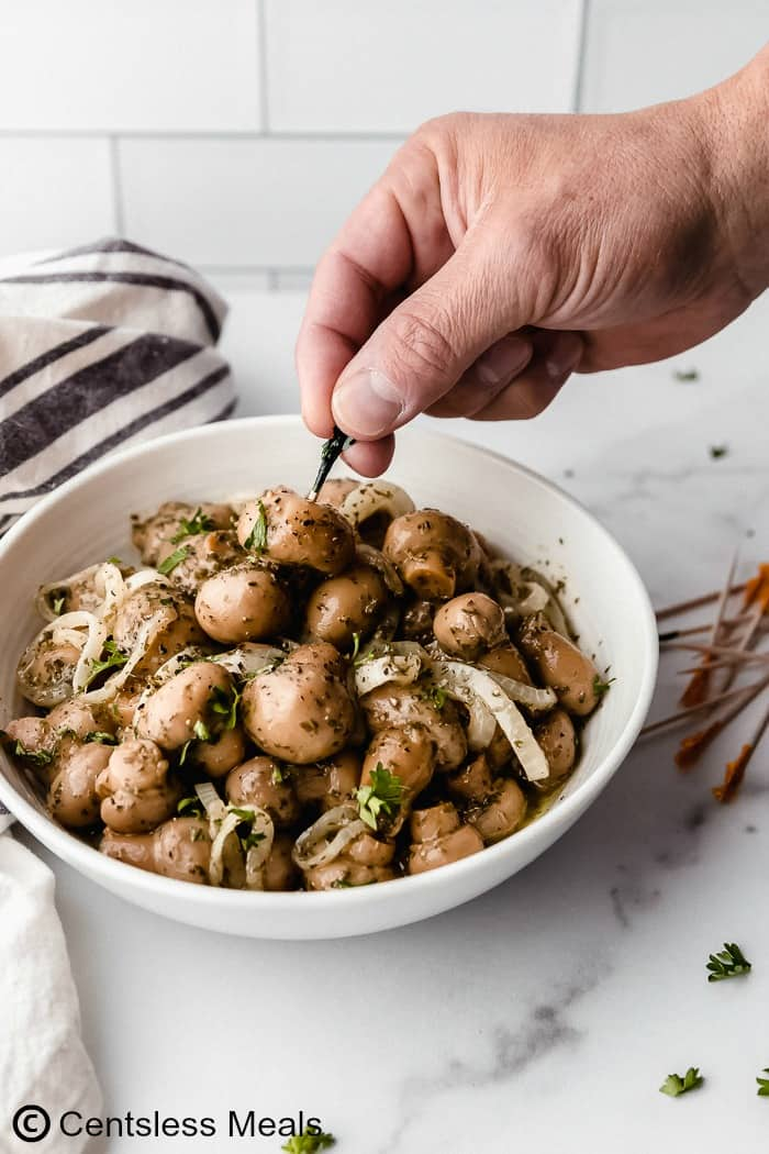 A white background with white bowl filled with mushrooms, marinated for several hours and served with toothpicks.