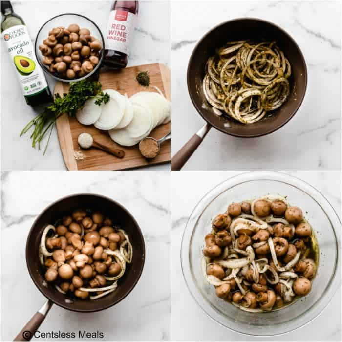Four photos showing how to make marinated mushrooms, using a large sauce pan on a white background.