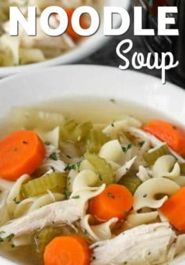 Crock-Pot chicken noodle soup in a white bowl with a title