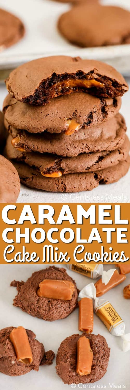 Raw dough with caramels on a marble board and caramel chocolate cake mix cookies with a title
