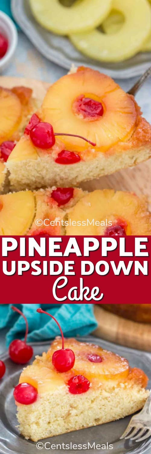 Piece of pineapple upside down cake on a plate with a fork and on a wooden board with writing
