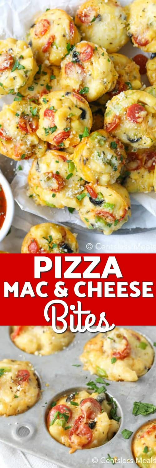 Pizza mac and cheese bites in a muffin tin and on a plate with a title