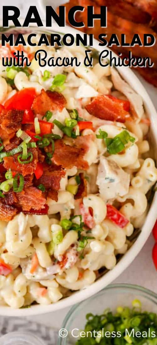 Ranch macaroni salad in a bowl with a title