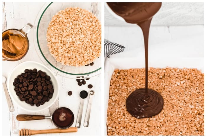 Left image shows ingredients to make Peanut Butter Rice Krispie Treats. The right image shows chocolate being poured over the base layer.
