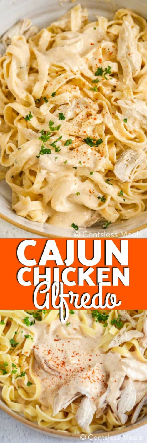 Top photo - A pasta bowl filled with chicken alfredo, cajun style! Bottom photo - Cajun Chicken Alfredo prior to being mixed.