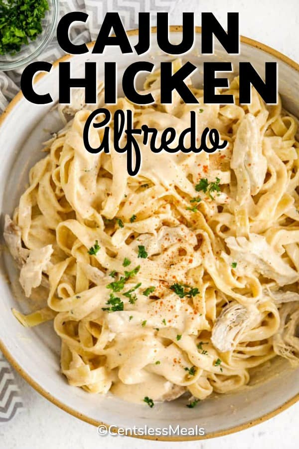 A pasta bowl filled with chicken alfredo, cajun style!