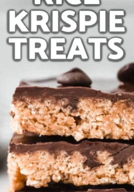 Peanut Butter Rice Krispie Treats with writing