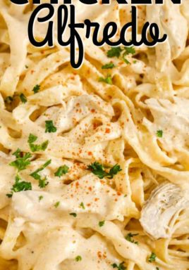 Cajun chicken alfredo in a bowl with writing
