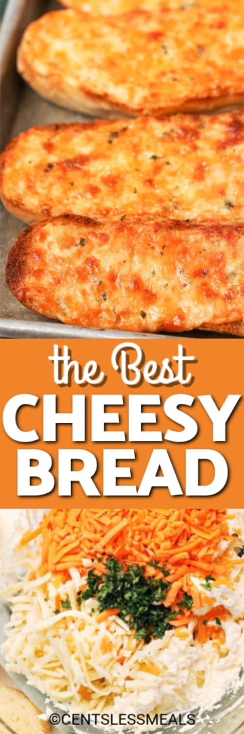 Ingredients for cheese mixture in a clear bowl and cheesy bread on a baking sheet with a title