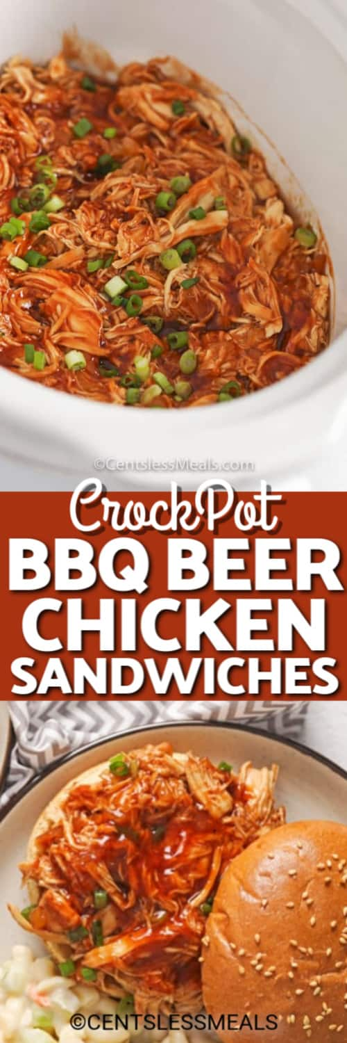 CrockPot BBQ Beer Chicken Sandwich on a white plate and CrockPot BBQ Beer Chicken in a crock pot with writing