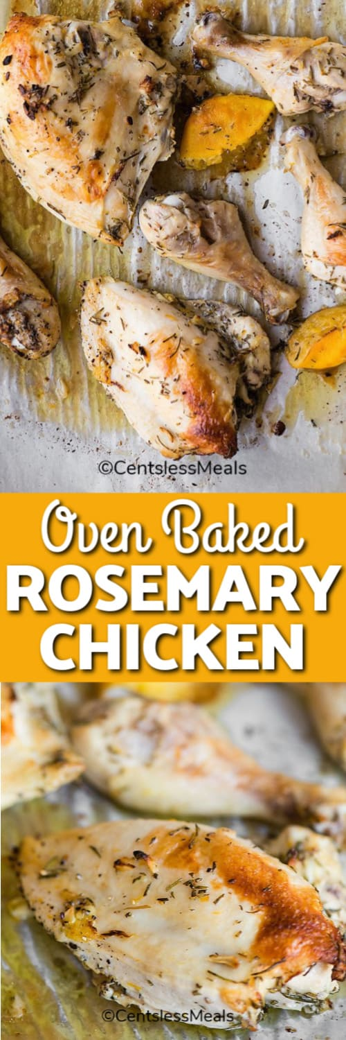 Oven Baked Rosemary Chicken pieces baked till golden on parchment paper