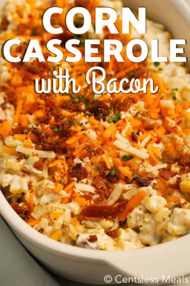 Raw corn casserole with bacon in a dish with writing