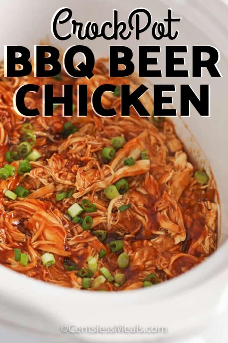 CrockPot BBQ Beer chicken in a crockpot with a title