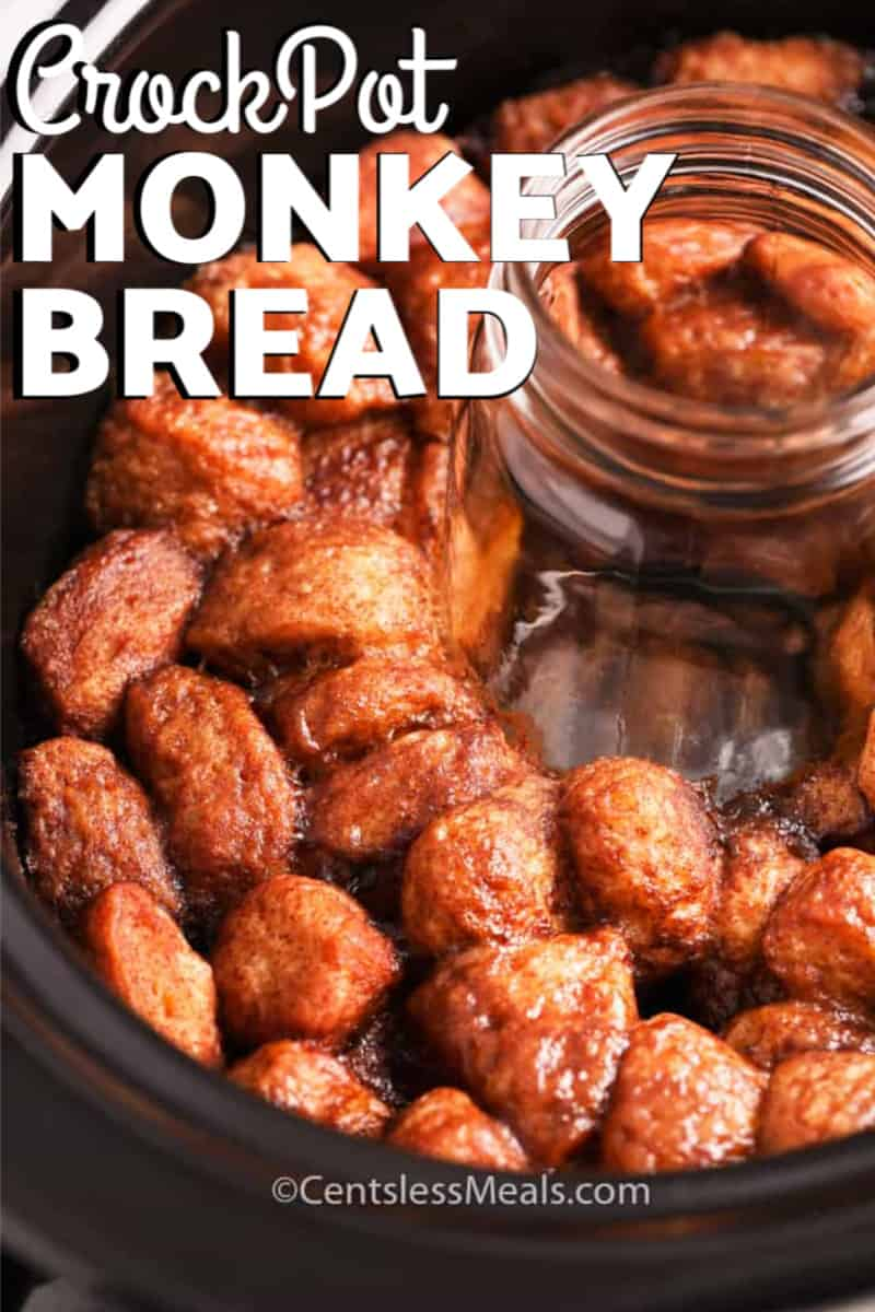 Monkey Bread cooked in a crock pot, with a glass jar in the middle.