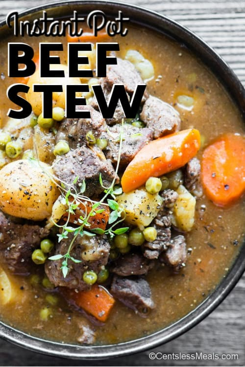 Instant Pot Beef Stew in a black serving bowl.
