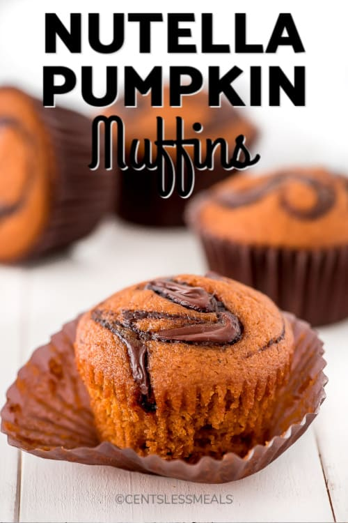 Pumpkin muffins with swirls of Nutella on top and in the middle with a title