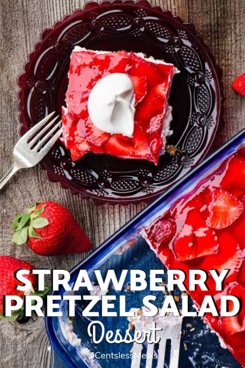 Strawberry Pretzel Dessert in a blue cake pan and a single serving on a glass plate.