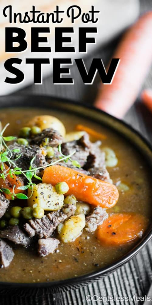 Instant Pot Beef Stew in a black serving bowl