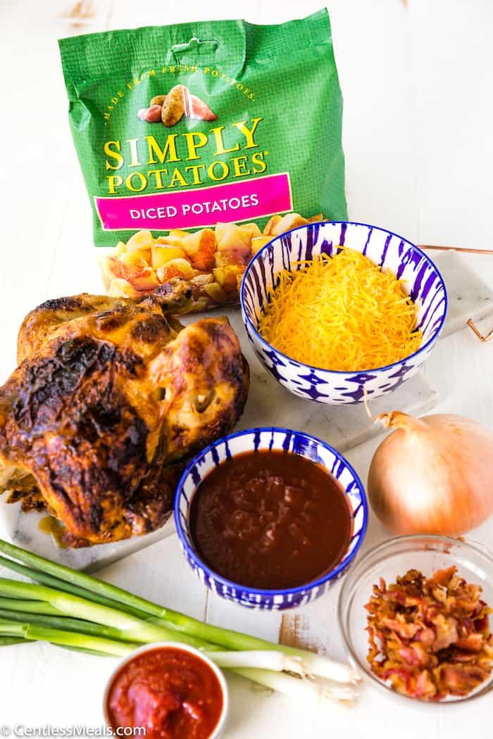 Ingredients for BBQ Chicken Bake