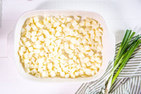 Simple potatoes diced potatoes in a casserole dish