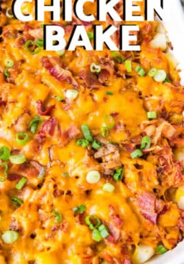 BBQ Chicken Bake in a white casserole dish with writing