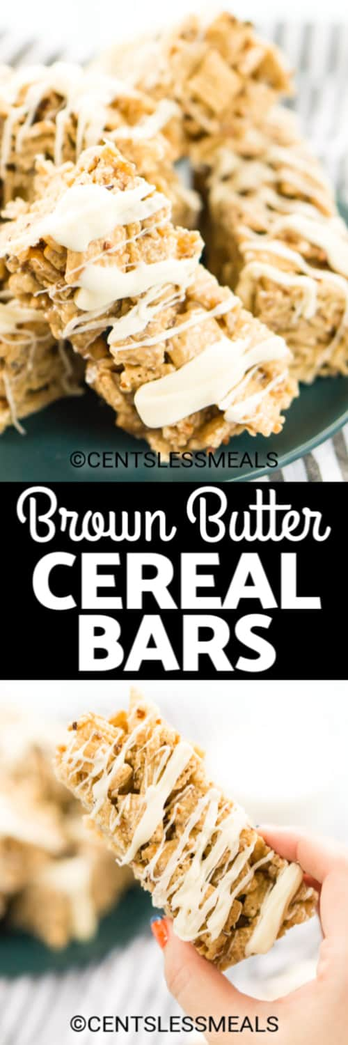 Brown Butter Pecan Cereal Bars on a green plate, and one cereal bar being held under the title
