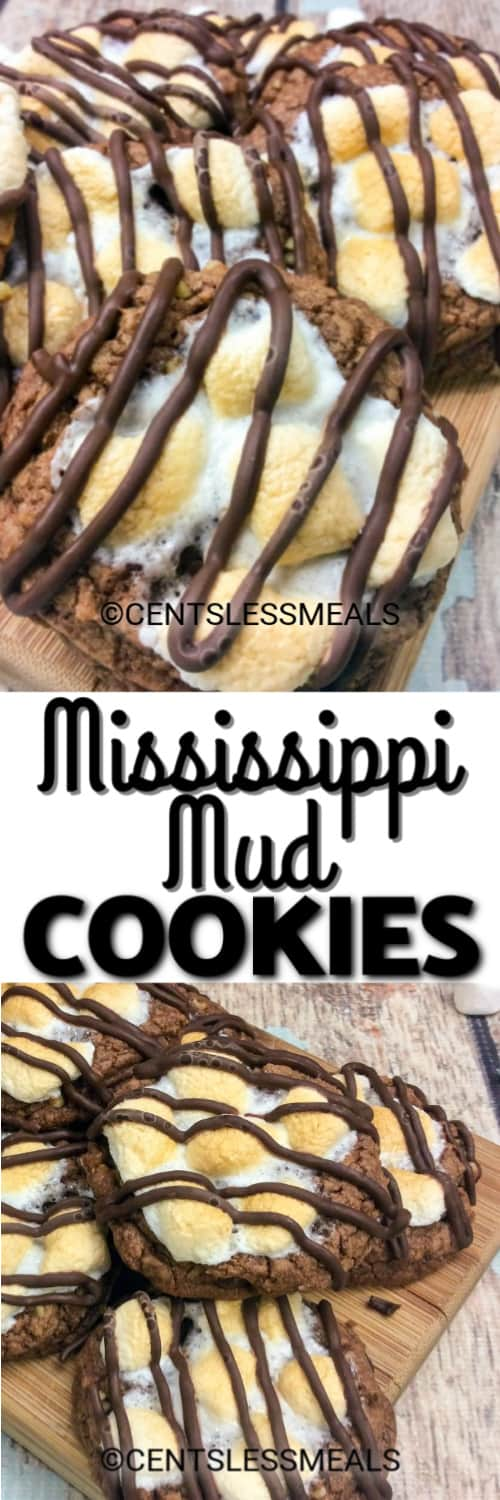 Mississippi Mud Cookies on a wooden board, and Mud Cookies piled together under the title.