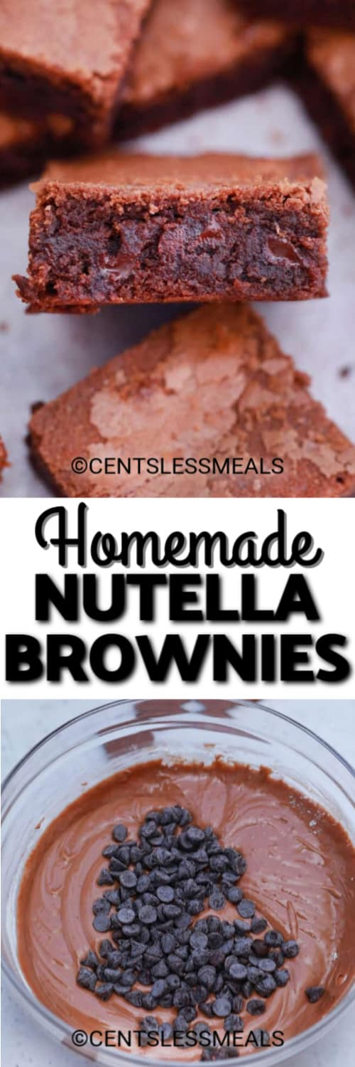 A Nutella brownie shown on it's side, and brownie batter in a clear mixing bowl underneath the title.