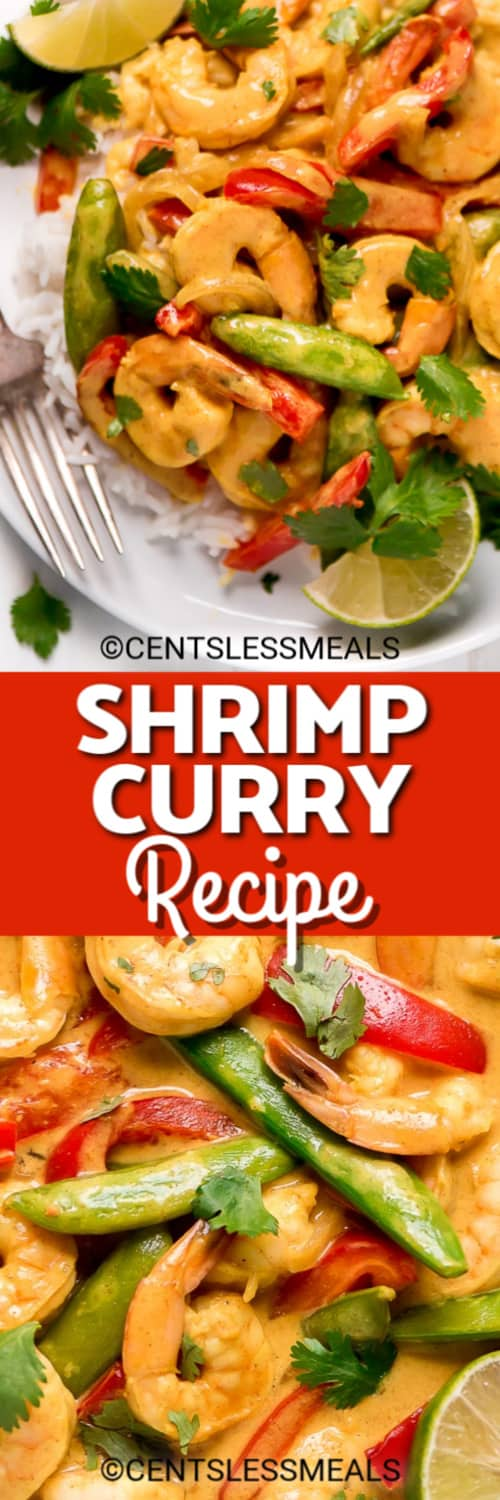 Coconut curry shrimp on top of rice on a white plate with a fork and cilantro, and a close up of the Shrimp Curry Recipe under the title.